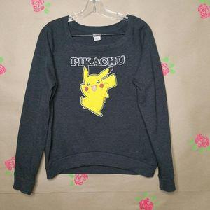 Pokemon Pikachu Gray Long Sleeve Sweatshirt XL